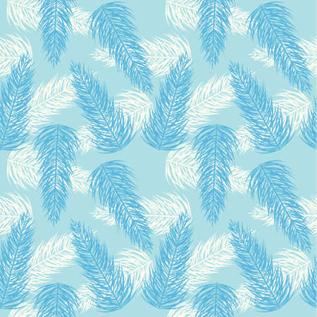 Seamless palm branch blue pattern