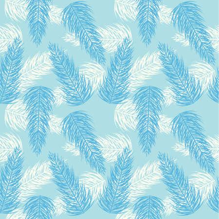 Seamless palm branch blue pattern