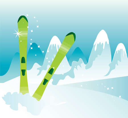 winter landscape, mountains and ski equipment.