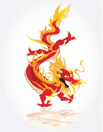 Red Chines dragon Vector