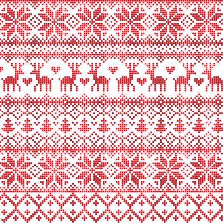 nordic country:  Illustrated traditional red nordic pattern