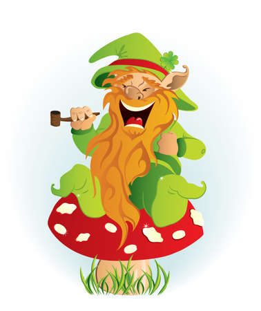 Leprechaun sitting on the mushroom Vector
