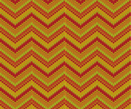 handicrafts:  Orange seamless knitted pattern