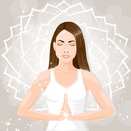 ashram:  Beautiful young woman meditating Illustration