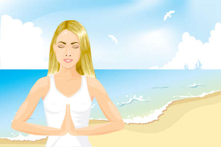 Girl meditating on the beach Vector