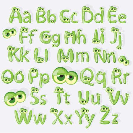 Cartoon green alphabet with eyes Çizim