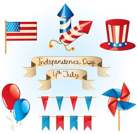 uncle sam:  4th July Independence Day set Illustration