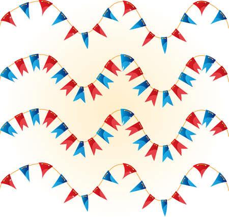 reg: Reg and blue flag garland Illustration