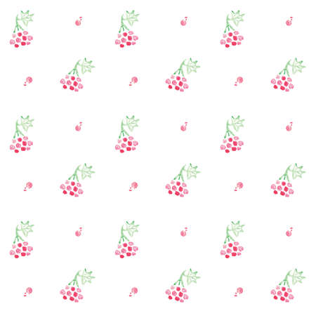 guelder rose: Seamless viburnum background. Vectorwatercolor pattern