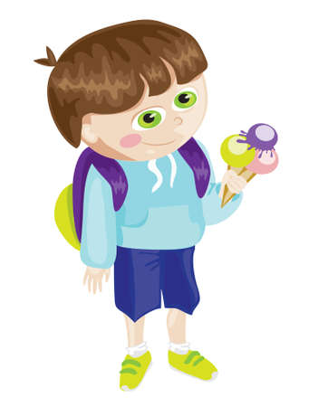 Cartoon school boy with ice cream Vector