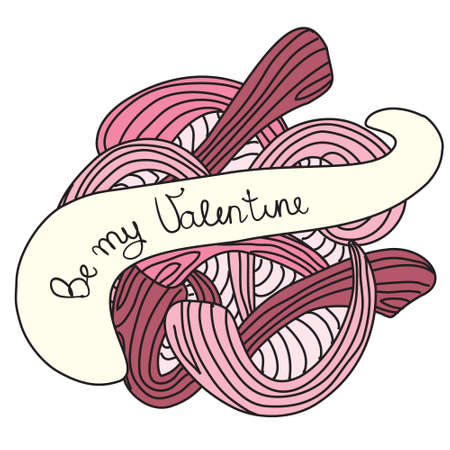 Be my Valentene  Vector pink illustrated Valentine s Day card Vector