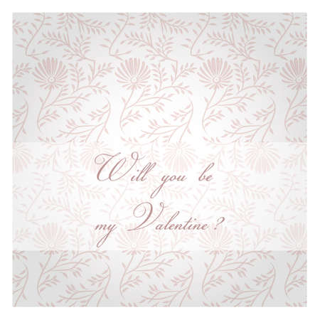 Will you be my Valentine  Valentines Day decorative background  Pink post card  Illustration