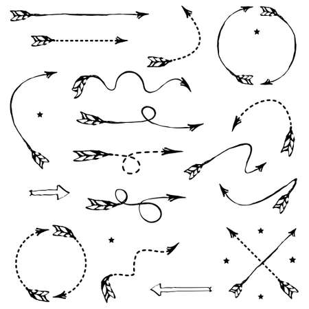 indexes: Set of vector illustrated black graphic arrows for your design