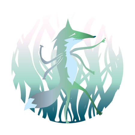 illustrated: Vector illustrated beast. Cartoon werwolf. Magic animal in the forest