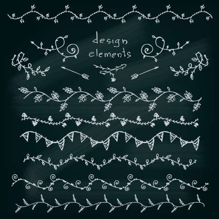 Floral design elements set. Brushes colleclion. Vector