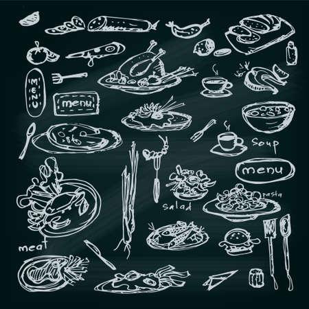 Mahlzeit Skizze Set. Dekorative handgezeichneten Speisekarte Sammlung.