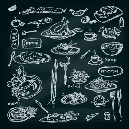 Meal sketch set. Decorative hand drawn restaurant menu collection.  Illustration