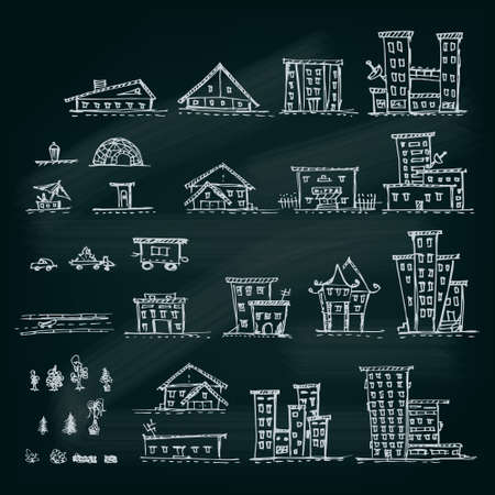 Set of hand drawn houses.Different building collection.