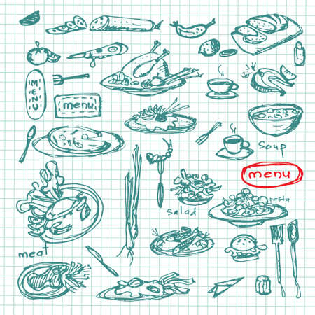 Meal sketch set. Decorative hand drawn restaurant menu collection Vector