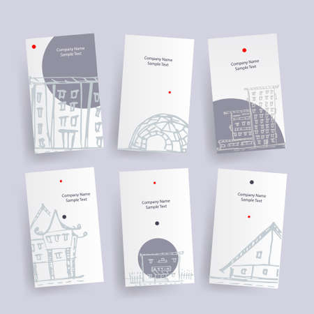 Set of architecture company identify cards. Vector illustrated  tags
