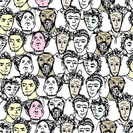 Seamless pattern with big group of people. Vector illustrated Vector