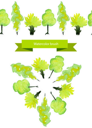 oak trees: Vector illustrated spring tree brush. Green watercolor trees
