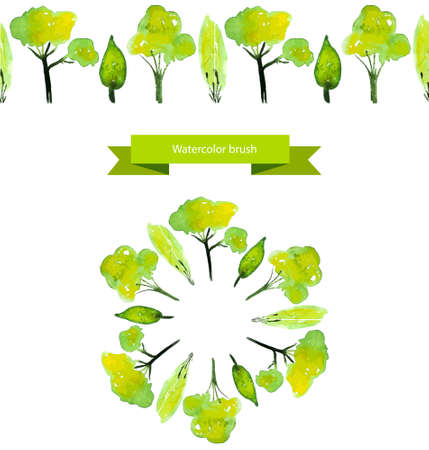 Vector illustrated spring tree brush. Green watercolor trees