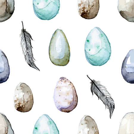 Happy Easter! Watercolor hand drawn Easter egg seamless pattern. 100% Vector Vector