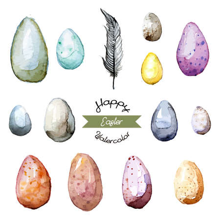 Happy Easter! Watercolor hand drawn Easter egg collection. 100% Vector Vector
