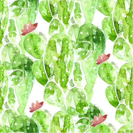 Seamless watercolor cactus pattern