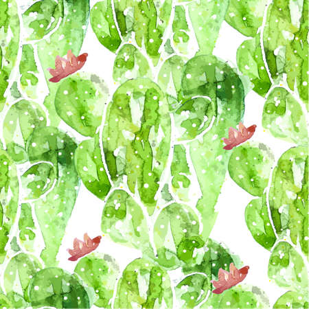 Seamless watercolor cactus pattern