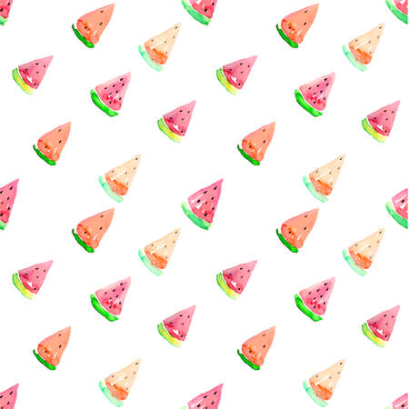 watermelon slice: Watercolor seamless watermelon pattern. Vector