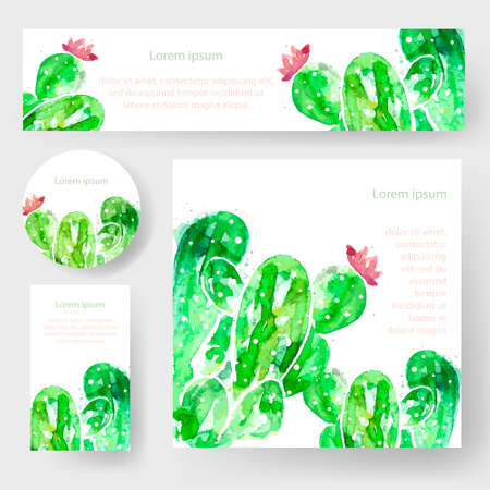Set of watercolor cactus tags and banners, vector Illustration