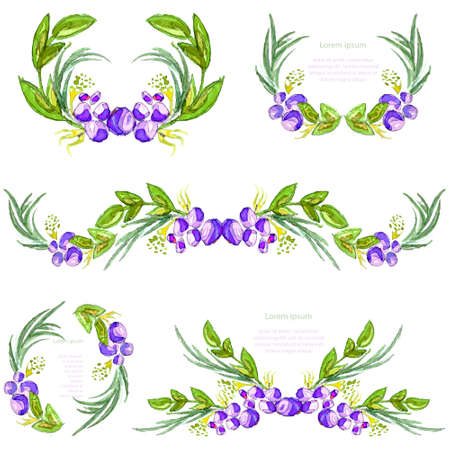 foliate: Watercolor floral design elements. Brushes, borders, wreath,garland. Vector