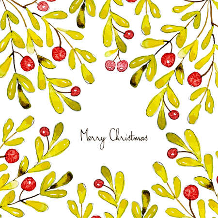greating card: Merry Christmas. Grating card. Holiday post card template. watercolor illustrated. Vector