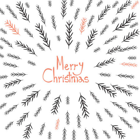 greating card: Merry Christmas! Decorative greating card. Simple holiday post card design. Poster themplate. Vector Illustration