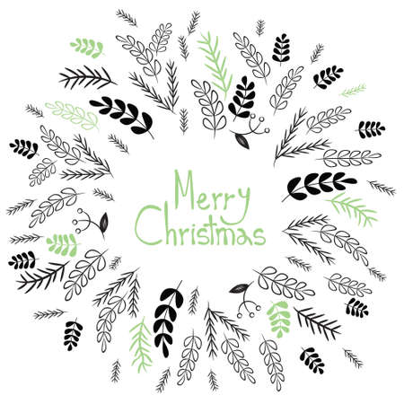Twigs: Merry Christmas! Decorative greating card. Simple holiday post card design. Poster themplate. Vector Illustration