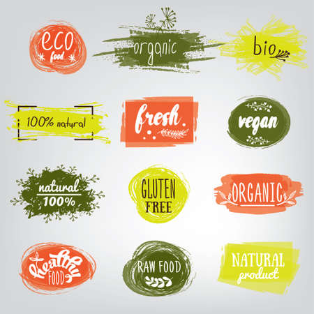 Labels with vegetarian and raw food diet designs. Organic food tags and elements set for meal and drink, cafe, restaurants and organic products packaging.Vector illustrated bio detox logo.