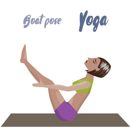 Young women instructor doing stretching exercises. Isolated vector yoga illustration. Girl yogun performs yoga pose