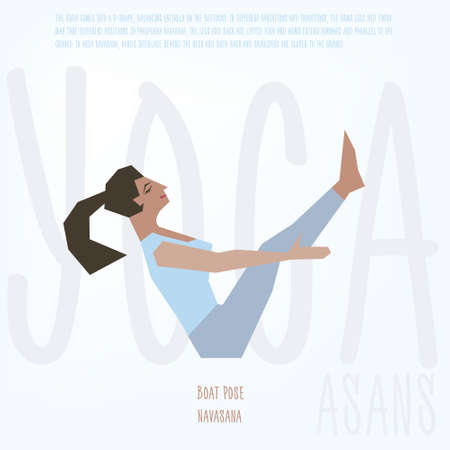 yoga girl: Young women instructor doing stretching exercises. Isolated vector yoga illustration. Girl yogun performs yoga pose