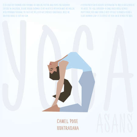 girl pose: Young women instructor doing stretching exercises. Isolated vector yoga illustration. Girl yogun performs yoga pose