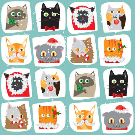 wrapping animal: Christmas cats seamless background. Cute animal wrapping papper pattern New Year postcard