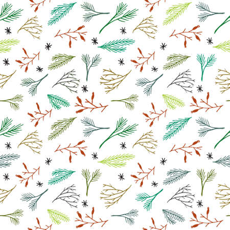 christmas wallpaper: Seamless Christmas pattern. Tile vector background. Botanical winter wallpaper. Wrapping paper texture