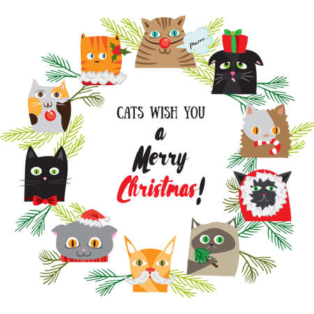 post card: Vector cartoon Christmas background with cute cat characters. New Years post card design. Chistmas kitten holiday template Illustration