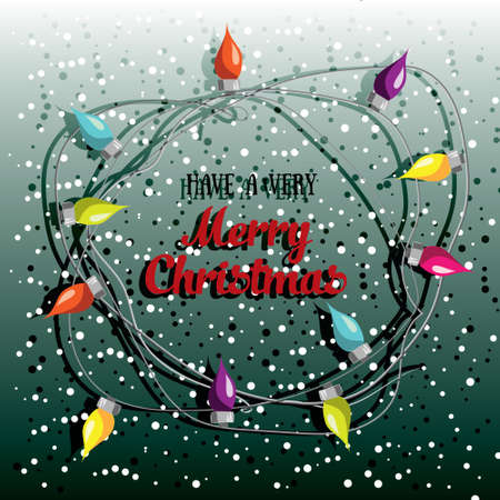 Merry Christmas! Vector illustrated greetin card with electric lamp garland. Colorful holiday party poster design. Decorative invitation template. Multicolor lighting bulb backdrop.