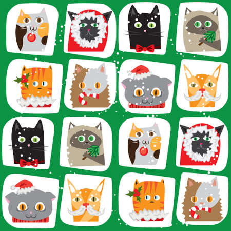wrapping animal: Seamless vector illustrated cartoon Christmas cats background. Cute animal tile pattern. New Year wrapping papper texture Illustration