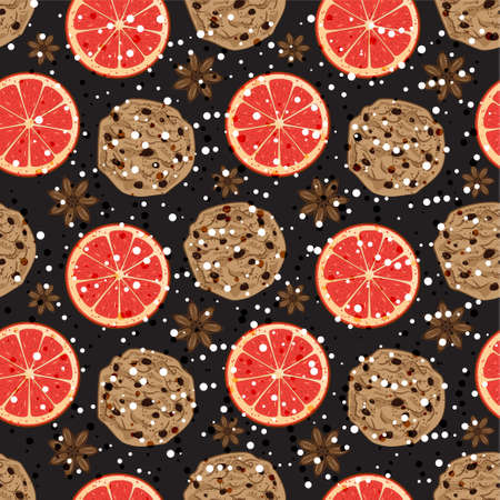 Seamless Christmas pattern with American cookies, anise and grapefruit. Vector illustrated fragrant holiday tile background. Wrapping paper texture
