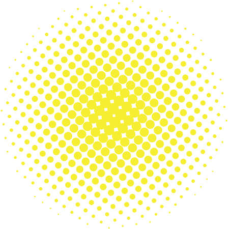 Abstract halftone design element. Yellow pop art dot background. Pop-art style spotted illustration. Polka dot vector template. Modern bubble background Illustration