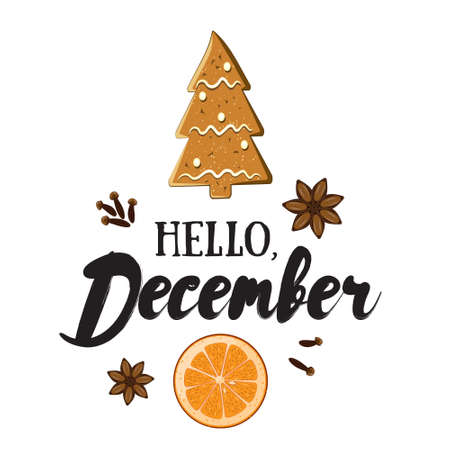 Hello, December. Holiday greeting card with ginger bisquit, orange slice, spices and calligraphyelements. Handwritten modern lettering with cartoons background.