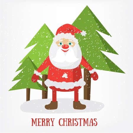 Merry Christmas post card template. Vector Illustration of Santa Claus. Cartoon invitation design